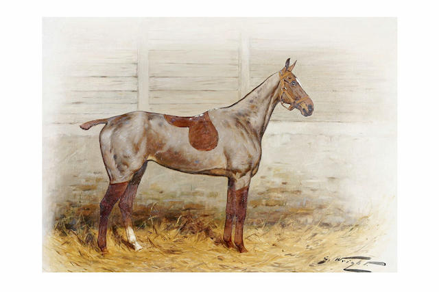 George Wright (1860-1942) A clipped chestnut hunter mare in a loose box, and another, A clipped chestnut gelding in a loose box, a pair, 61 x 56cm.