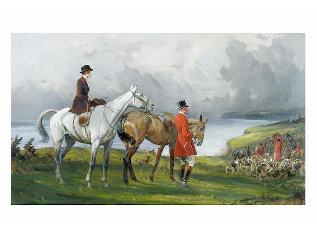 George Wright (1860 - 1942) 'Kill on the cliffs', 44.5 x 75cm.