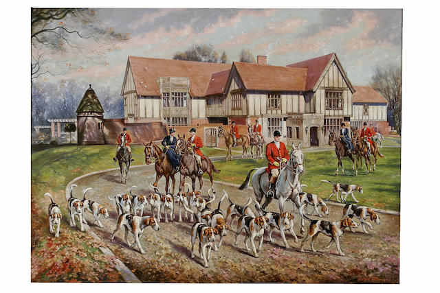 Gilbert Hammond Setting off for the hunt, 60 x 80cm.
