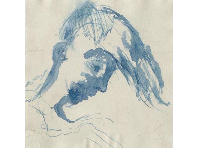 Keith Vaughan (British, 1912-1974) Head sketch of John Minton 10 x 10cm (4 x 4in)(3)
