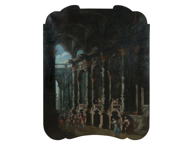 Attributed to Stefano Orlandi (Bologna 1681-1760) An architectural capriccio of the interior of a palace with the Judgement of Paris; and An architectural capriccio 146 x 122.6 cm. (57½ x 48¼ in.) (2)
