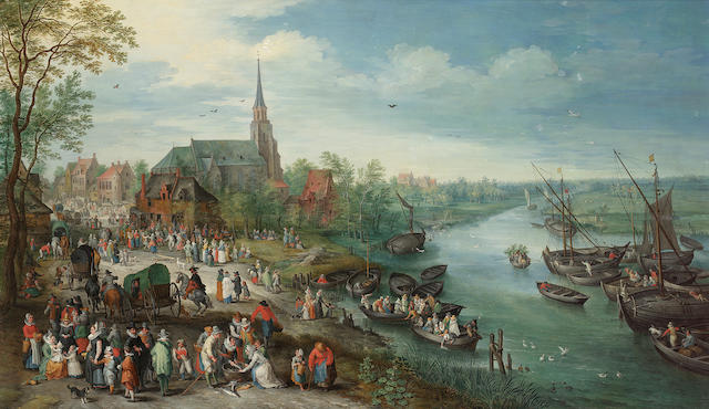 Attributed to Karel Beschey (born Antwerp 1706) A village landscape 55.5 x 94.7 cm. (21 7/8 x 37¼ in.)