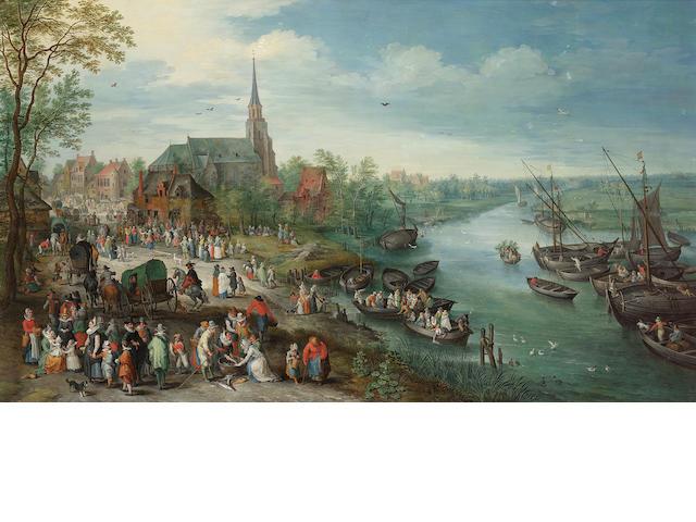 Attributed to Karel Beschey (born Antwerp 1706) A village landscape  55.5 x 94.7 cm. (21 7/8 x 37¼ i