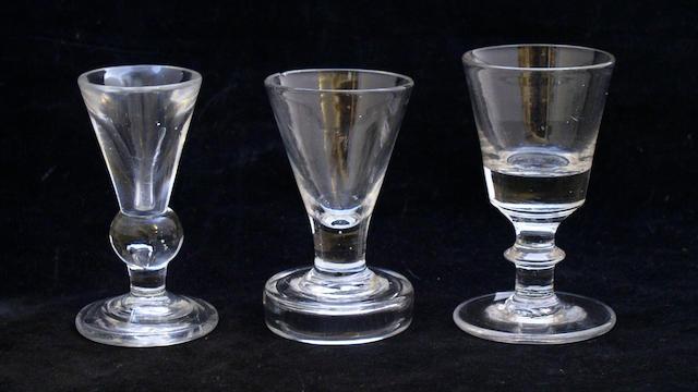 Three late 18th Century firing glasses