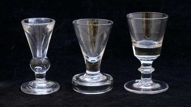 Three late 18th Century firing glasses