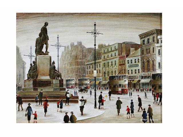 Arthur Delaney (1927 - 1987) Albert Square, Manchester, 35 x 45cm.