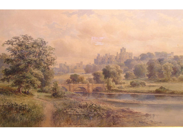 "Malcolm Crouse ""Alnwick Castle, Northumberland"", and ""Tintern Abbey, Monmouthshire"", a pair, 33 x 51cm."