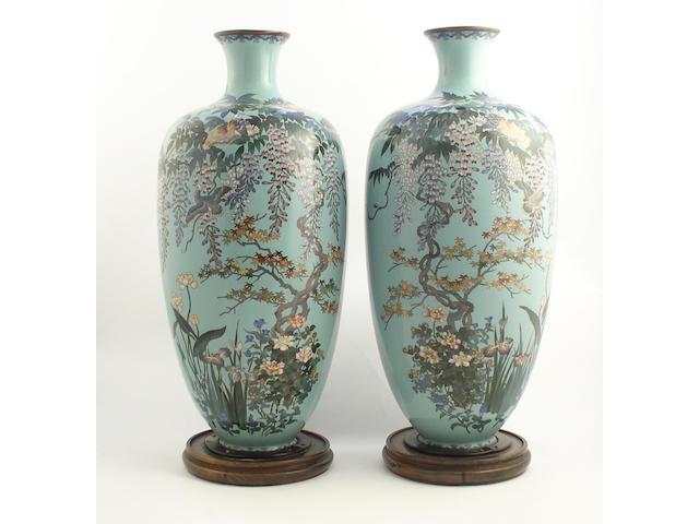A pair of Japanese Cloisonné vases Meiji period,