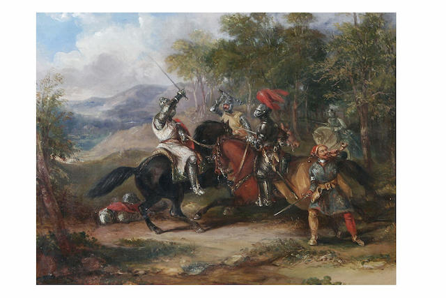 Attributed to Sir John Gilbert Medieval knights skirmishing in a woodland clearing, 33 x 43cm.