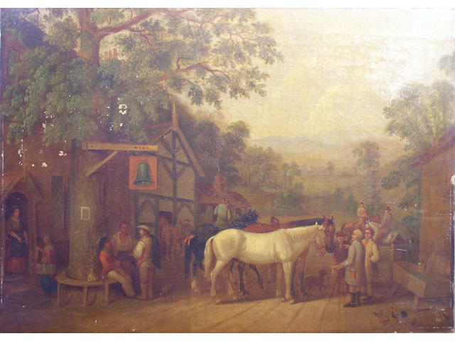 Circle of Edwin Masters Figures and horses outside a country inn, 40.5 x 56cm, unframed.
