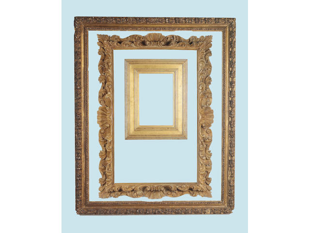 An English 17th Century carved and gilded frame,