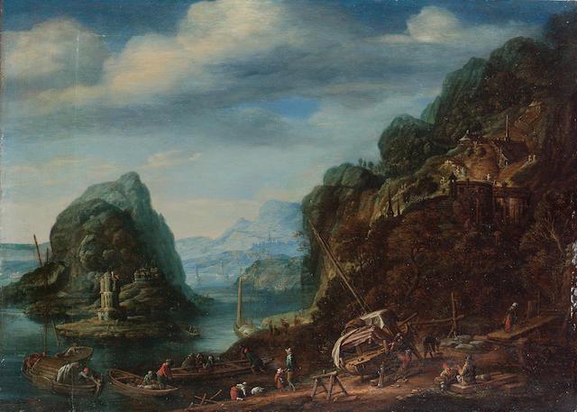 Herman Saftleven (Rotterdam circa 1609-1685 Utrecht) A Rhenish river landscape 23 x 32 cm. (9 x 12½