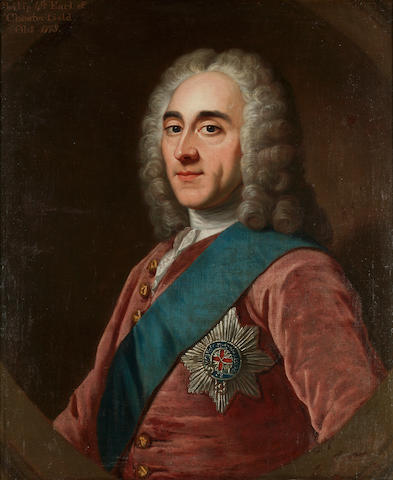 CHESTERFIELD, FOURTH EARL OF, PHILIP DORMER STANHOPE, (1694-1773, politician, wit, letter writer and collector of literary portraits) PORTRAIT, CIRCLE OF WILLIAM HOARE R.A. OF BATH (1707/8-1792),