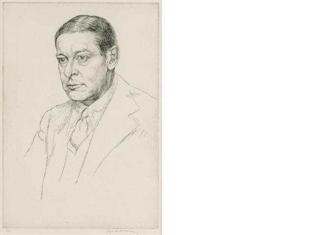 ELIOT, T[HOMAS] S[TEARNS] (1888-1965, poet and literary critic, O.M.) PORTRAIT BY EDGAR HOLLOWAY R.E