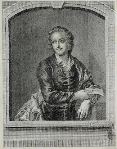 GRAY, THOMAS (1716-1771, poet) PORTRAIT BY JOHANN SEBASTIAN MULLER/JOHN MILLER (1715-1785) AFTER JOHN GILES ECKHARDT (d. 1799),