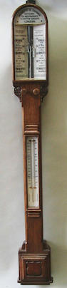 19th C oak cased barometer