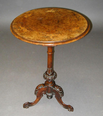 An early Victorian walnut occasional table