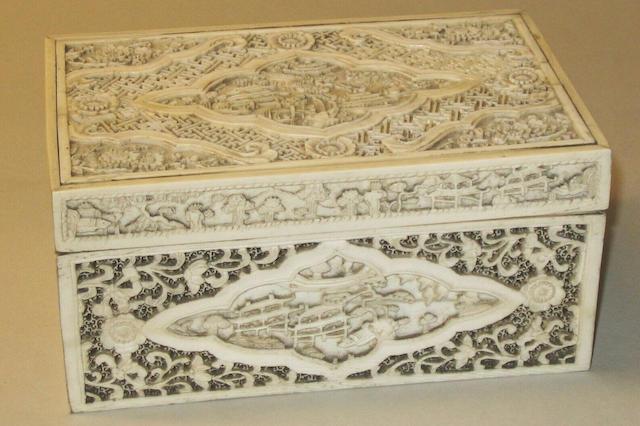 A Canton rectangular ivory box