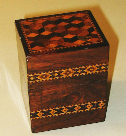 A small Victorian rosewood and Tunbridge ware card box