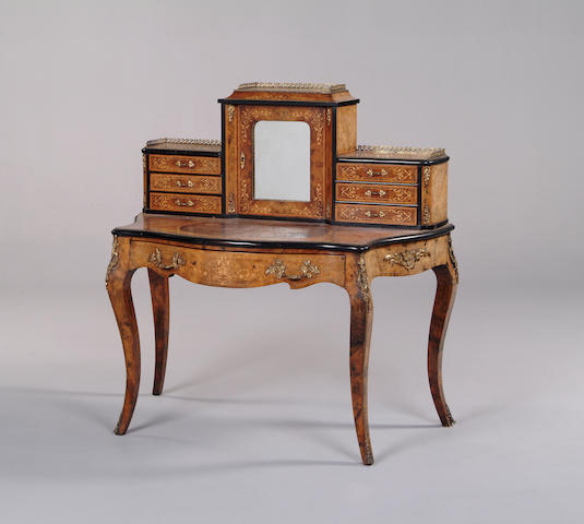 A mid Victorian burr walnut ebonised and marquetry bonheur du jour