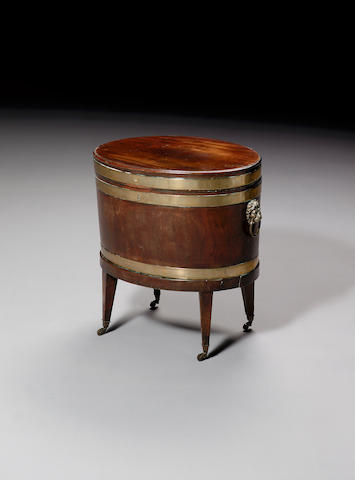 A George III mahogany and brass bound Cellerette,