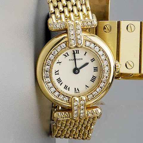 Cartier. A lady's 18ct gold and diamond set quartz bracelet watch Rivoli, 1990s