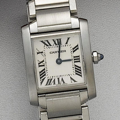 Cartier. A lady's stainless steel quartz bracelet watchTank Francais, 2003