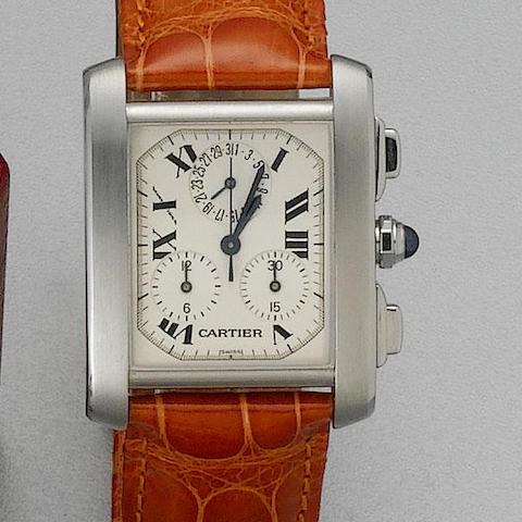 Cartier. A gents stainless steel quartz calendar chronograph wristwatchTank Francais, Ref:2503, recent
