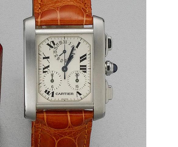 Cartier. A gents stainless steel quartz calendar chronograph wristwatch Tank Francais, Ref:2503, rec