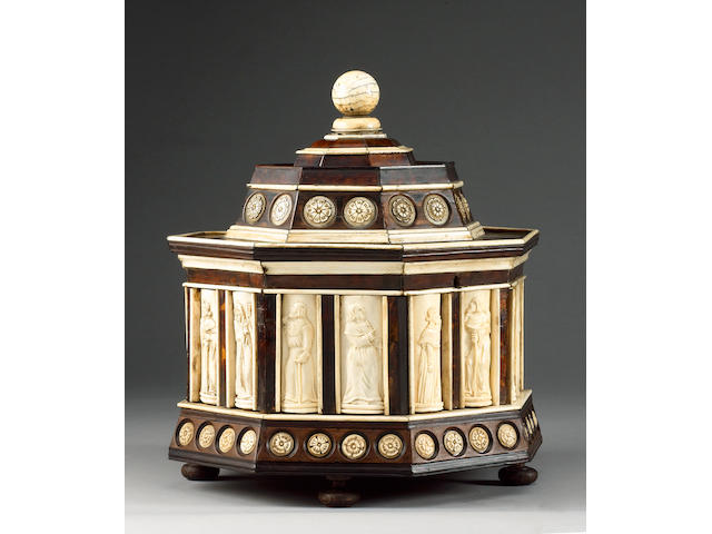 An Italian bone inlaid stained wood octagonal casket