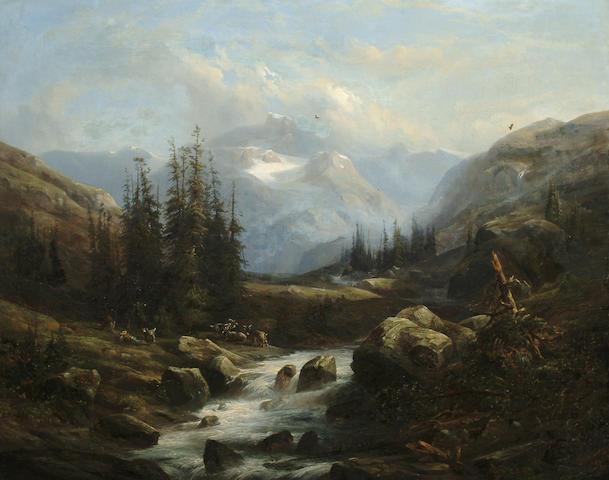 Amédée Baudit (Swiss, 1825-1890) Goat herd in a mountain landscape, 72 x 91 cm (28 3/8 x 35 3/4 in)