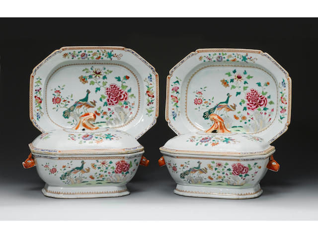 A fine and rare pair of famille rose 'double-peacock' tureens, covers and stands Qianlong