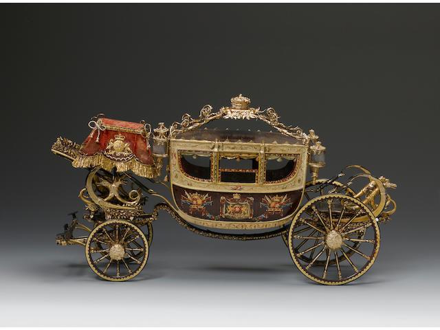 A very rare coach-maker's Model of a Portuguese Royal State Coach, English, circa 1825,