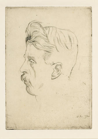 BENNETT, ARNOLD (1867-1931, novelist and essayist) PORTRAIT BY SIR WILLIAM ROTHENSTEIN N.E.A.C., R.P. (1872-1945),