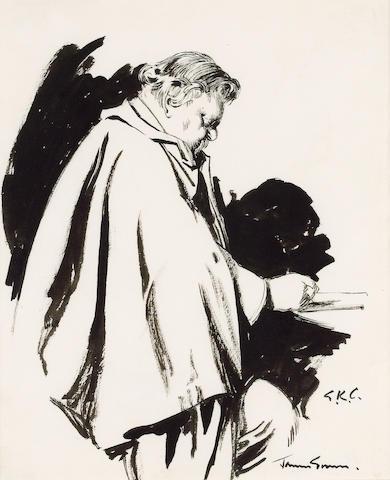 CHESTERTON, G[ILBERT] K[EITH] (1874-1936, novelist, poet and journalist) PORTRAIT BY JAMES GUNN R.A.