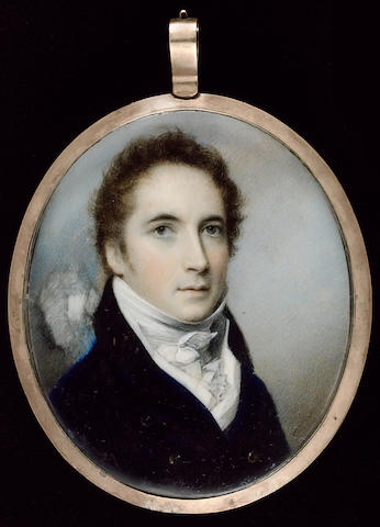 George Engleheart, A Gentleman, wearing blue coat with black collar, white waistcoat and cravat