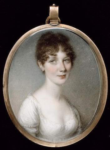 Thomas Hazlehurst, A young Lady, wearing white dress trimmed with lace, pearls on her sleeve