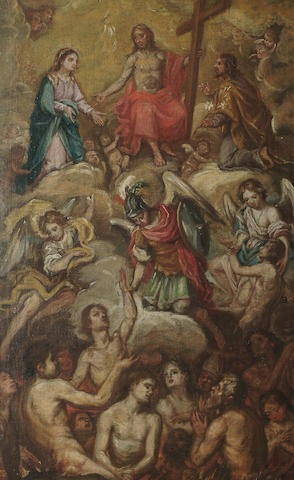 Spanish School, 18th Century The ascension of Christ 58.5 x 36.7 cm (23 x 14 1/2 in)