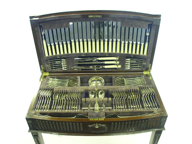 A Victorian Albert with thread heel pattern canteen of cutlery for twelve, by George M. Jackson, London 1887,