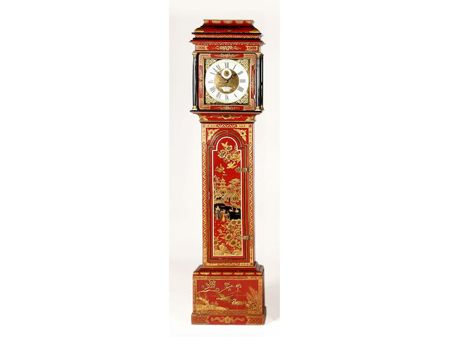 A red japanned longcase clock, signed George Baker, Dorchester, composite,