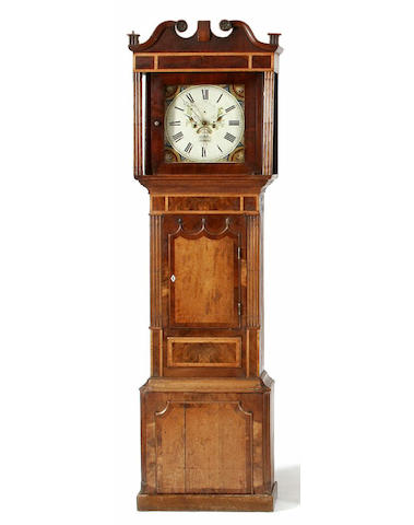 An oak, mahogany and maple painted dial longcase clock, Thomas Maddocks, Frodsham, circa 1840,