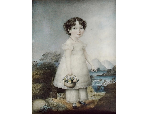 Miss Sarah Biffin, A young Girl, standing, wearing white dress and pantaloons, black shoes and a coral necklace, a basket of flowers in her hand, her bonnet on the ground, she points to a stream, mountainous landscape beyond