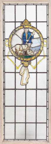 A set of four Edwardian leaded and stained glass window panels