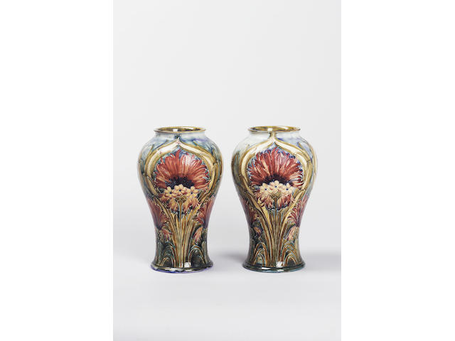 'Brown Chrysanthemum' A Pair of Vases