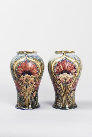 'Brown Chrysanthemum' A Pair of Vases