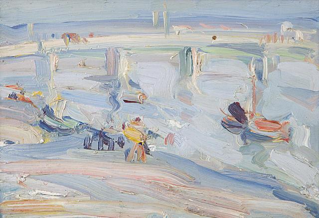 Samuel John Peploe RSA (1871-1935) Paris Plage 16 x 24cm (6 1/4 x 9 1/2ins)