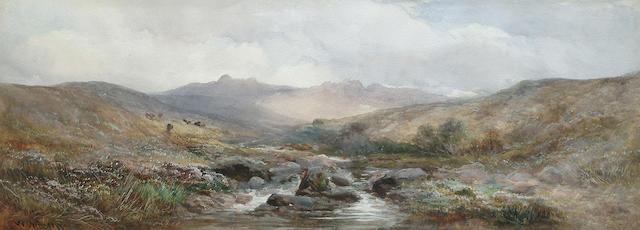 William Widgery (British, 1826-1893) A Moorland river, 28 x 73.5 cm (11 x 29 in)