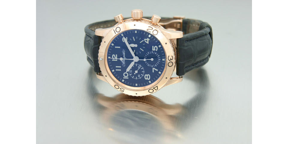 Breguet. A fine 18ct rose gold automatic fly-back chronograph wristwatchType XX, Aeronavale, Ref.3800, No.1886, late 1990s