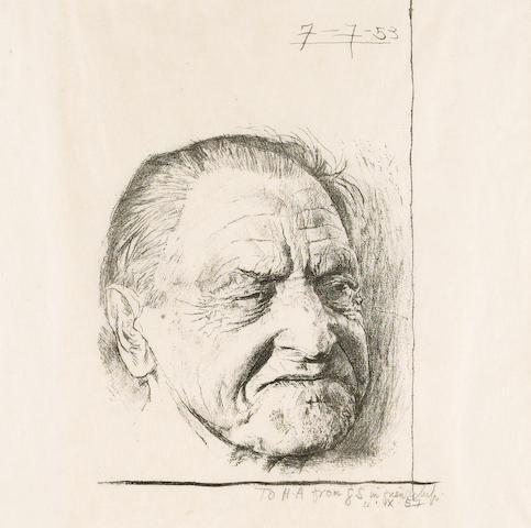 MAUGHAM, [WILLIAM] SOMERSET (1874-1965, novelist and playwright) PORTRAIT BY GRAHAM SUTHERLAND O.M.,