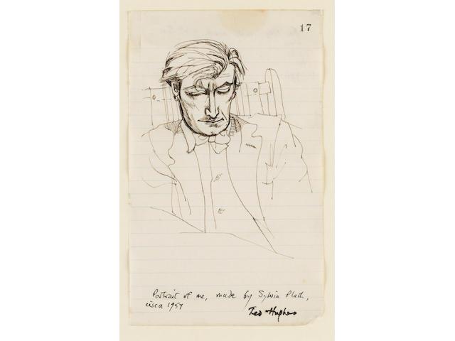 HUGHES, TED, (1930-1998, poet, Poet Laureate, O.M.) PORTRAIT BY SYLVIA PLATH (1932-1963),